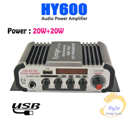 Wholesale Use Power Amplifier - HY600 Mini Amplifier Car Amplifier 20W+20W FM Audio MIC MP3 Speaker Stereo Amplifier for Motorcycle Car Home use