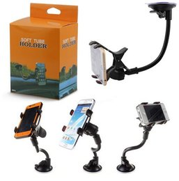 Wholesale Cellphone Stands Color - 360 Degree Rotating Long Arm Windshield mobile phone Car Mount Bracket Holder Stand for iPhone Cellphone GPS MP4 With the Retail Box