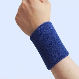 Wholesale Basketball Cloths - Wholesale- 1Pc Terry Cloth Wristbands Sport Sweatband Hand Band Sweat Wrist Support Brace Wraps Guards For Gym Basketball P20