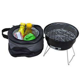 Wholesale Barbecue Cooler - Portable Charcoal BBQ Grill Couple Family Party Outdoor Camping Barbecue Roasting Brazier Cooking Tools With Shoulder Cooler Bag