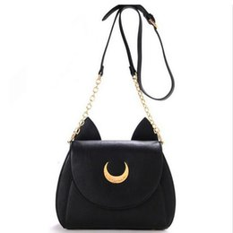 Wholesale Cheap Cute Ladies Bags - Wholesale- Cheap Sailor Moon Chain Shoulder Bag Ladies Luna Cat PU Leather Handbag Women Messenger Crossbody Small Bag Cute LWW0105