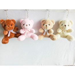 Wholesale wholesale wedding teddy bears - 9cm Teddy Bear with bowknot Cartoon Stuffed Toy Plush Toy Pendant Bag Keychain Car Key Holder for Bag Hanging Wedding Christmas Gift