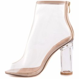 Wholesale High Heel Transparent Shoes - 2017 summer sexy clear ankle boots pvc fashion peep toe women boots transparent shoes for woman high heels 10cm chunky heel