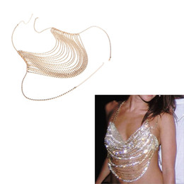 Wholesale Body Chain Jewelry Parties - Beach Party Ladies Sexy Bra Chest Chain Claw Chains Rhinestone Body Chains Necklace Girls Charming Belly Chain Gold   Silver Costume Jewelry