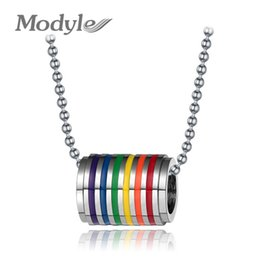 Wholesale Pride Charms - Wholesale-Fashion Multicolor Gay Pride Jewelry Stainless Steel Rainbow Pendant Necklace Charm Jewelry for Women