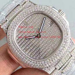 Wholesale Movement Miyota - Luxury Super Version Watch Full Diamond Dial Bracelet Platinum 40.5mm x 10mm Nautilus 5719 1G-001 MIYOTA 9015 CL.324SC Movement Mens Watches