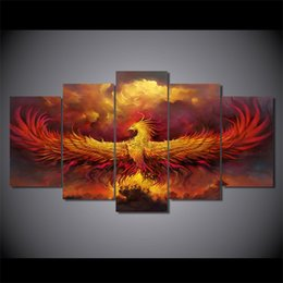 Wholesale Free Pictures Prints - 5 Pcs Set Framed HD Printed Comics Phoenix Painting on canvas room decoration print poster picture canvas Free shipping ny-1495