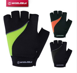 Wholesale Gloves Short Half - 2017 Winmax Cycling Gloves Short Fitness Reflective Half Finger Camping & Hiking Bicycle Gloves With Gel-Foam Pad For Outdoors Sport
