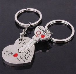 Wholesale Heart Keyrings - Arrow & I Love You Heart & Key Couple Key Chain Ring Keyring Keyfob Keychains Lover Romantic Gift Valentine Day