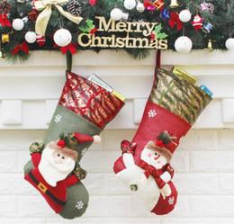 Wholesale cartoon ornaments - 2018 New Year Christmas Stockings Socks Santa Claus Candy Gift Bag Xmas Tree Hanging Ornament Decoration