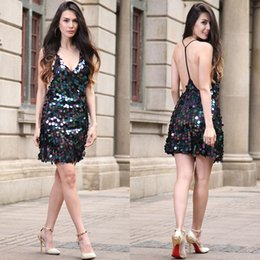 Wholesale Dresses Jumper Skirt Sexy - Women's Sexy V-Neck Sequinned Backless Clubwear party Mini Jumper Skirt RYGoo265