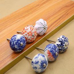 Wholesale Wholesale Porcelain Knobs - Flower round shape blue and white porcelain art peony ceramic Plantain leaf solid single handles pull cabinet drawer knob furniture #495
