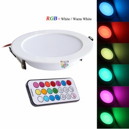 Wholesale Ceiling Lights Remote Control - 2017 Newest RGBW LED Downlights Recessed Ceiling Panel Lights Dimmable 10W RGB +Warm Cold White AC 110-240V + Timer Remote Control