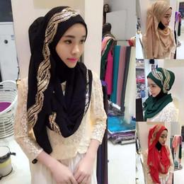 Wholesale Shimmered Shawl - Fashion Womens Muslim Long Scarf Hijab Islamic Shawls Headwear Arab Shayla Headwear New