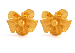 Wholesale 24k Gold Designer - Fashion pure 24K Yellow Gold flower Earrings heavy designer Stud Earrings 1.7g