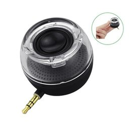 Wholesale Compact Audio - Gadget Speaker Cool Smartphone 3.5mm Aux Audio Jack Plug in Line-in Speaker Mini Compact Round Shape Powerful Clear Bass Built-in Battery