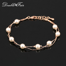Wholesale white pearl bangles - Vintage Imitation Pearl Bead Bracelets & Bangles Wholesale 18K Rose Gold Platinum Plated Fashion Brand Wedding Jewelry For Women DFH169M