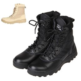 Wholesale combats boots - Wholesale-Tactical Combat Outdoor Sport Army Men Boots Desert Botas Hiking Autumn Shoes Travel Leather High Boots Male O1480