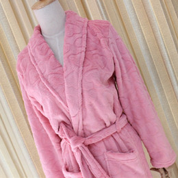 Wholesale Ladies Polyester Pajamas - Ladies autumn and winter cotton pajamas thick long robe plus cashmere pink warm long sleeves bathrobes apply Women's Underwear