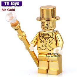 Wholesale Electroplate Mr Gold SERIES Custom Machine Chromed Super Heroes Minifigures Model DIY D Building Blocks Kids Gifts Toys