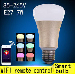 Wholesale Iphone Remote Led Light - DIY Wifi LED Bulb E27 7W 85-265V Lampada LED Dimmable Bulb Lamp Remote Control LED Spot Light For iPhone Android Phones APP