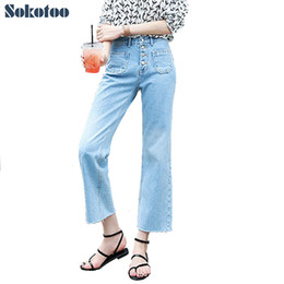 Wholesale Wide Flare Jeans - Wholesale- Sokotoo Women's fashion casual loose wide leg pants Lady's high waist pocket ninth ankle flare crop jeans