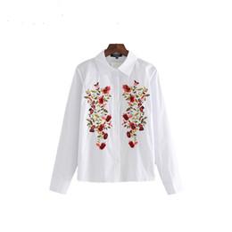 Travail à la broderie manches longues en Ligne-femmes douces broderies florales chemises blanches à manches longues en bas col chemisier dames bureau travail tops