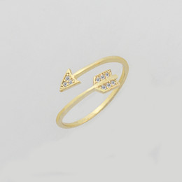 Wholesale Christmas Directions - Wholesale 10Pcs lot Promotion 2017 New Fashion Gold Filled Rings Crystal Jewelry One Direction CZ Arrow Silver Rings