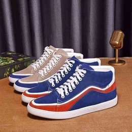 Wholesale Top Italian Shoes For Men - Italian Tops Brand Famous shoes for Men Luxury Breathable High Sneakers Hi-top casual shoes nubuck Genuine Leather Stripe 2 colors