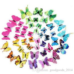 Wholesale Large Butterfly Wall Stickers - 30 Style 3D PVC Beautiful Magnetic Butterfly Removable Wall Stickers Butterfly Fridge Magnet Sticker Living Room Wall Decoration ak085