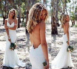 Белое свадебное платье онлайн-сексуальный Backless Русалка Свадебные платья Спагетти ремень Полное Кружева Свадебное платье Дешевые Sweep Низкий назад boho Белый Свадебные платья