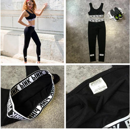 Wholesale Cotton Sportswear For Women - VS PINK active sport wear Tracksuit for women Fashion ladies PINK letter printed tank top + legging Sportswear sport suit sets