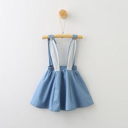 Saia em denim on-line-Meninas coelho vestido de crianças verão bonito dos desenhos animados macacão de orelha de coelho bebê denim suspender saia de pano meninas de páscoa