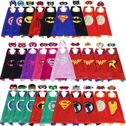 Wholesale Star Masks - Superhero Capes Masks 70*70 cm Double sides 29 Design Stage Performance Cosplay Prop Costumes Spider Man Boys Girls Kids Christmas Halloween