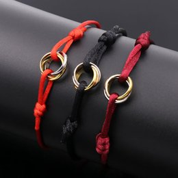 Wholesale Titanium Rope Jewelry - Fashion love Charm Bracelets Red String Handcrafted Macrame Rope Bangles Cube Micro three circle Zircon love Bracelet Woman Man Jewelry