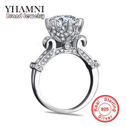 Wholesale Flower Design Diamonds - YHAMNI Original 100% Pure 925 Sterling Silver Ring with 1 Carat SONA CZ Diamond Flower Ring Original Design Ring Jewelry XJ2902