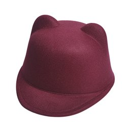 Wholesale Ear Bowler Hat Red - bowler hat fedora Cute Kitty Cat Ears Wool Derby Bowler Cap Free 4solid color women apparel accessories Shipping DM#6