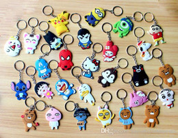 Wholesale Pvc Finder - 29 Models Phone Accessories Cartoon Rings Trinket Soft PVC Keychain Minions Marines Key Holder Key Chains Finder Souvenirs Gift