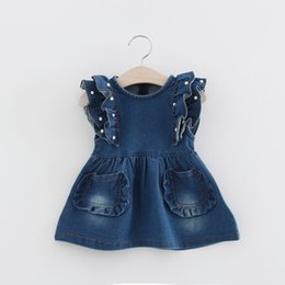 Wholesale Low Priced Baby Clothes - Lowest Price Girls Denim Dress Baby Tutu Dress Kids Princess Dresses Lace Skirt Children Clothing Casual Dresses 2017 New Summer