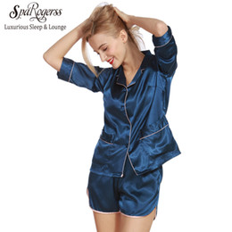 Wholesale Women Sleep Shorts - Wholesale- SpaRogerss Women Pajama Sets Summer 2017 Silky Ladies Pajamas Shorts 2 Pcs Set Faux Silk Female Sleep Lounge Size L Pyjama TZ319
