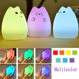 Wholesale Cute Little Lamps - Wholesale- Multicolor USB Rechargeable LED Children Night Light Silicone Cute Little Devil Cat Lamp With breathing light mode,standby mode