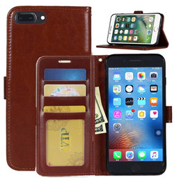 Wholesale Iphone 5s Leather - Leather Wallet Case with Card Slot Flip Stand Cases PU Leather Cover For iPhone X 8 7 6 6S Plus 5 5s Sumsung S8 S7 Plus