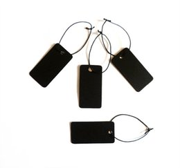 Wholesale Strung Price Tags Wholesale - 500PCS Black Blank Jewelry label tags Necklace Earring Bracelet tag lable Jewelry Card Black Paper Card price tags with string