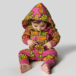 Wholesale Hot Girs - hooded baby rompers girs boys cotton kids jumpsuits print infants clothing sets spring autumn newborns rompers clothes new fashion 2017 hot