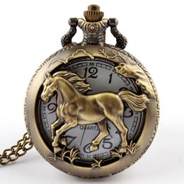 Wholesale Chinese Horse Bronzes - Wholesale-Hot Chinese Zodiac 12 Free shipping Bronze horse Hollow Quartz Pocket Watch Necklace Pendant Carving Back Womens Men GIfts P247