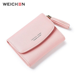 Wholesale Short Design Women - New Design 2017 Taseel Zipper Wallets Women Credit Card Coin Pocket Wallet for Ladies Soft Pu Leather Mini Bags for Girl