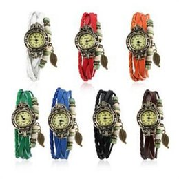 Wholesale Vintage Jewelry Watches - New Arrival Fashion Leather Vintage Watch Bracelet Wristwatches For kids Children women Watch Leaf handmade Jewelry