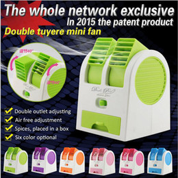Wholesale Usb Mini Air Conditioner - 6 Color Mini USB Fragrance Refrigeration Fan Portable Bladeless Desktop Fan Cooling Air Conditioner with Retail Packaging