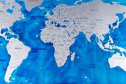 Wholesale Ocean Stock - 1pcs Travel World Scratch Map Ocean Edition Scratch Off Foil Layer Coating World Map 1Piece In Stock Deluxe Scratch Map 57.5x81.5 cm