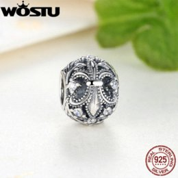 Wholesale Fleur Lis Silver Pendant - New Arrival 925 Sterling Silver Fleur-De-Lis Charm With Clear CZ Fit Original Pandora Bracelet Necklace Authentic DIY Jewelry